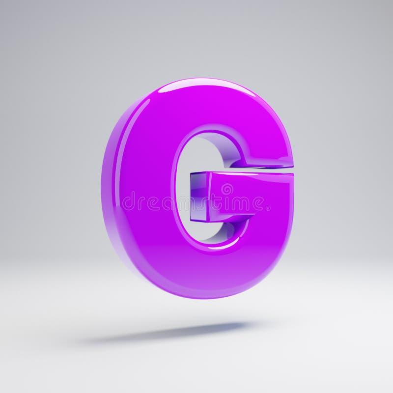 Volymetriskt glansigt violett G för stora bokstavsbokstav som isoleras på vit bakgrund royaltyfri illustrationer