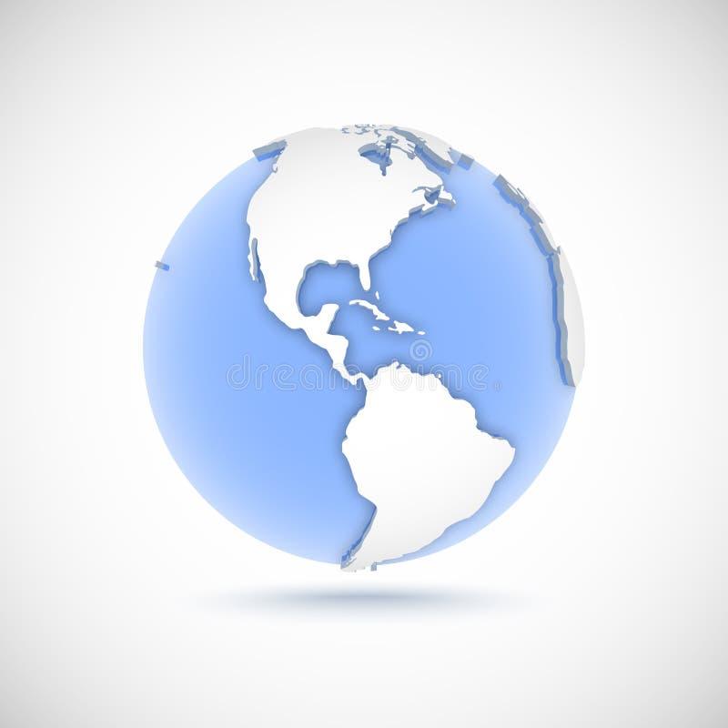 Volymetriskt jordklot i vita och blåa färger illustration för vektor 3d med kontinenter Amerika, Amerika, norr, söder och central vektor illustrationer