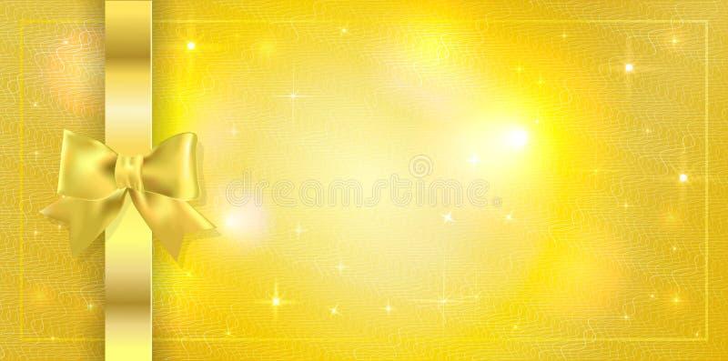 Volymmall av den guld- biljetten, presentkort, presentkort Designen f?r feriebel?ningkortet med mousserar stj?rnor p? guld- royaltyfria foton
