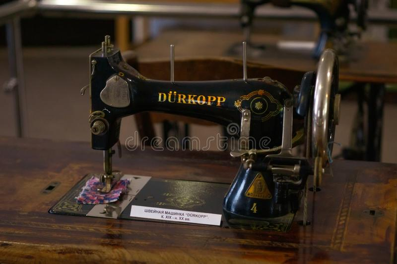 Volzhsky, Russia - apr 26, 2019: old sewing machine durkopp in the Museum of Russia retro. Style stock photos