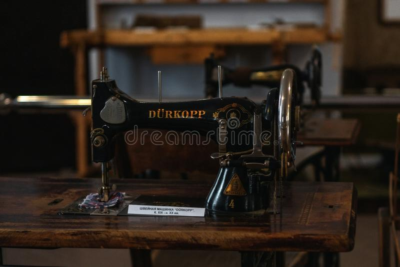 Volzhsky, Russia - apr 26, 2019: old sewing machine singer in the Museum of Russia retro. Style stock photo