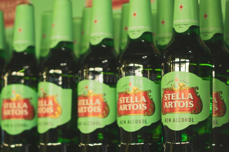 Volzhsky, Russia - apr 26, 2019: Products of hypermarket sale of non-alcoholic beer Stella Artois sale of alcoholic royalty free stock images