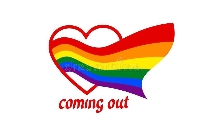Vom Herzen kommt eine Regenbogenflagge - Symbol von Stolz lgbt und lgbtq Heraus kommen LGBT-Ikone Regenbogenzeichenhomosexuelles, stock abbildung