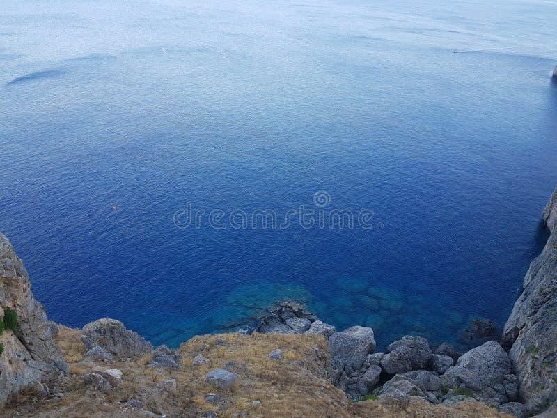 Vom oben genannten Schuss des sauberen blauen Wassers von ruhigem See nahe rauer steiniger Klippe am sonnigen Tag in der schönen  lizenzfreies stockbild