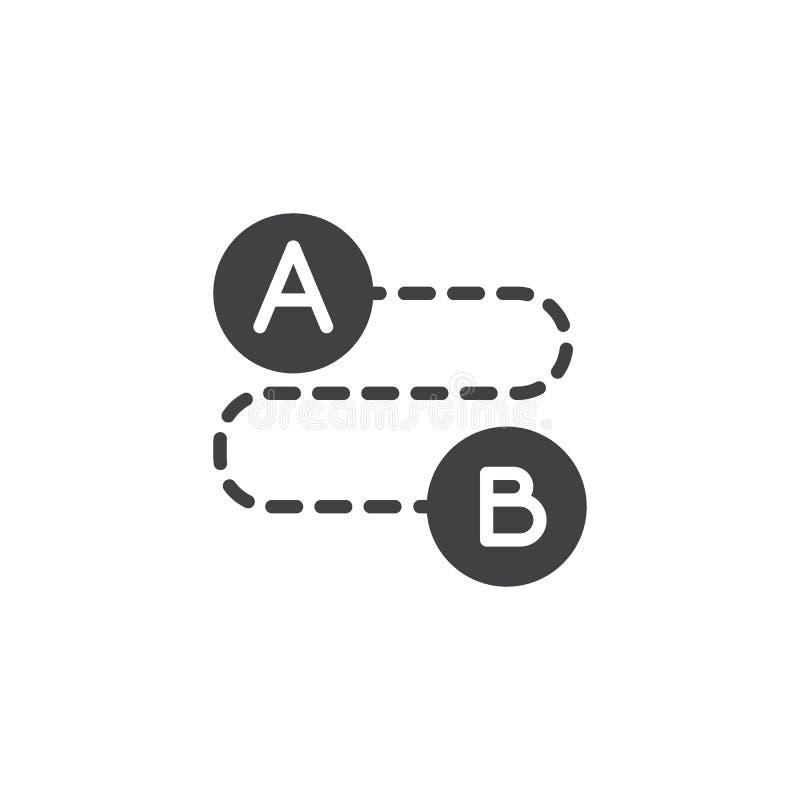 Vom Punkt A zum Zeigen von b-Vektorikone stock abbildung
