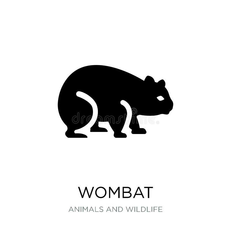 vombatsymbol i moderiktig designstil vombatsymbol som isoleras på vit bakgrund enkelt och modernt plant symbol för vombatvektorsy vektor illustrationer