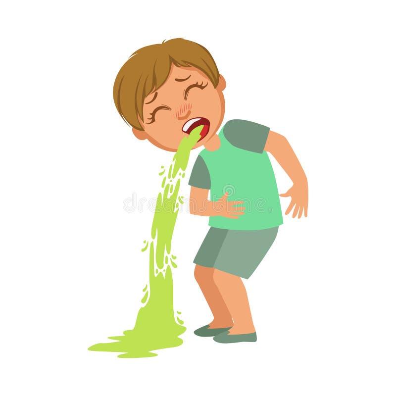Vomissement de garçon, enfant malade se sentant souffrant en raison de la maladie, partie d'enfants et séries de problèmes de san illustration libre de droits
