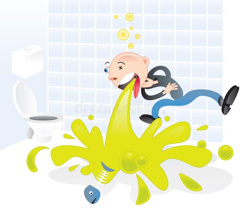 Vomissement de projectile de personnage de dessin animé illustration stock