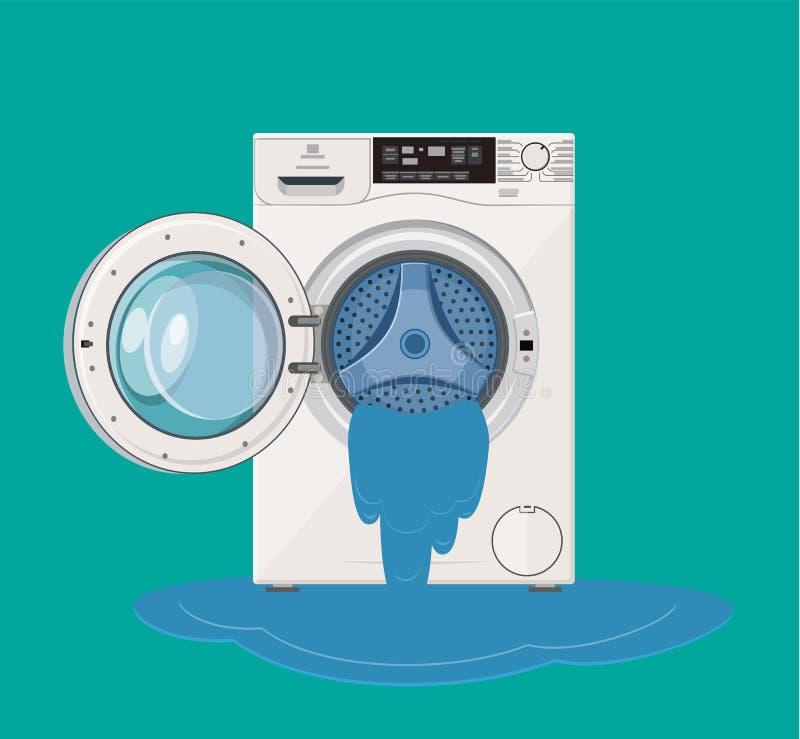 Von der defekte Waschmaschine Wasserströme Nennen des Meisters stock abbildung