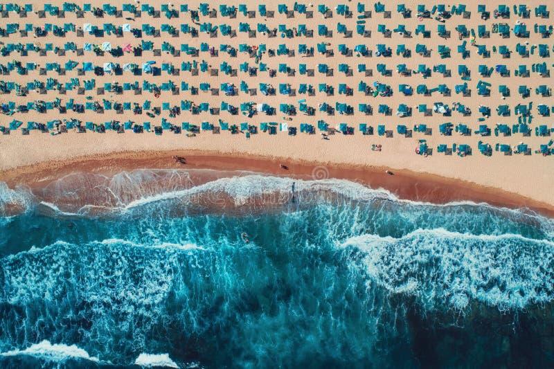 Von der Luftdraufsicht über den Strand Regenschirme, Sand und Meereswellen stockbild