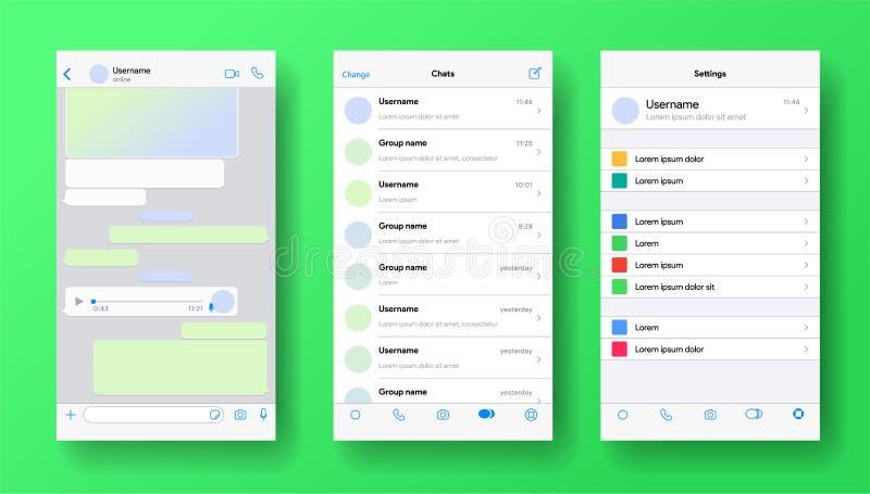 Von der Whatsapp inspirierter Bildschirm für mobile Messenger Mapping für Anwendungen Telefongespräch mit Voicemail oder Audio-Na vektor abbildung
