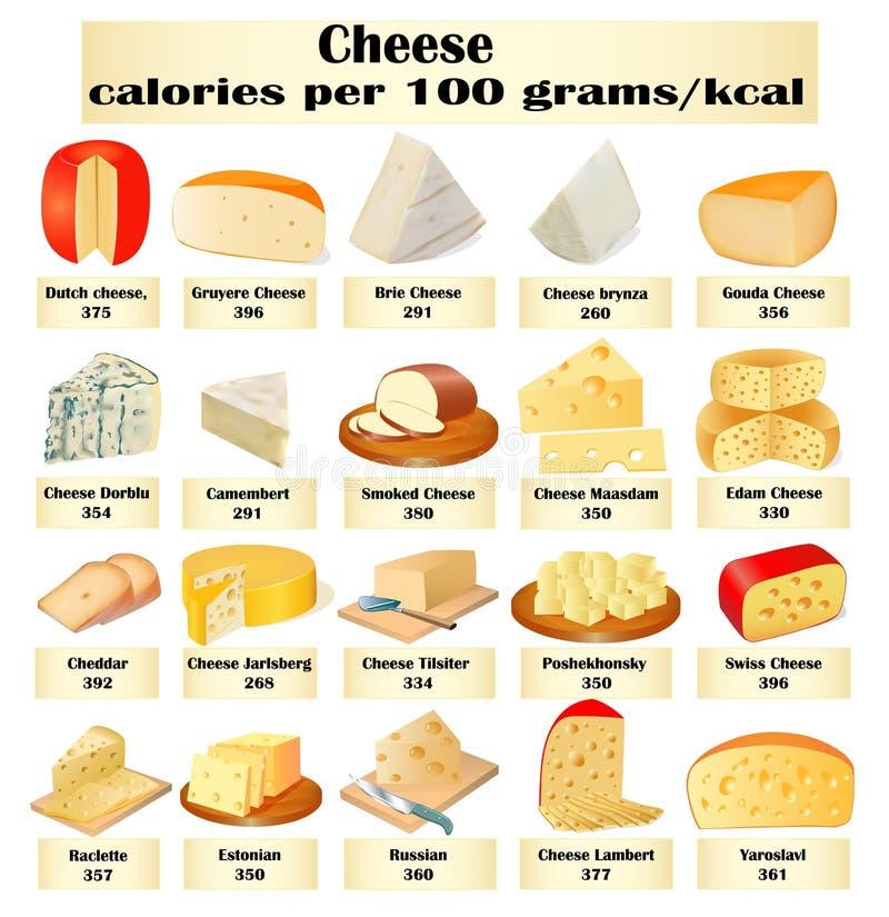 Von einem Satz verschiedenen Arten des Käses mit Kalorien lizenzfreies stockfoto