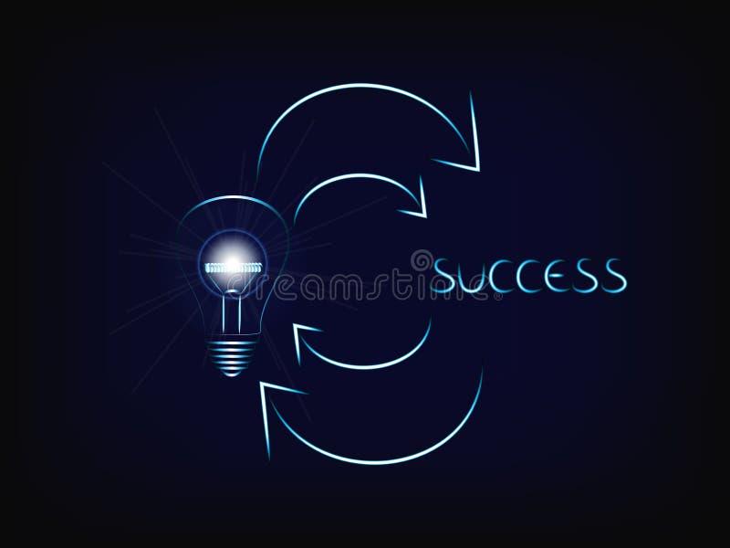 Von einer glänzenden Ideenglühlampe mit Aufflackern zum Erfolg und zum agai stock abbildung