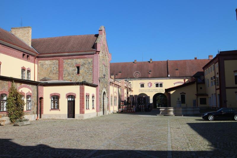 Von einer Prinzbrauerei in TÅ™eboň-Stadt, Süd-Böhmen stockfotos