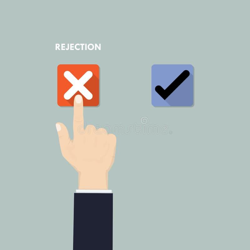 Von Hand eindrücken des Knopfes mit Prüfzeichen Ablehnung und Zustimmung decisi vektor abbildung