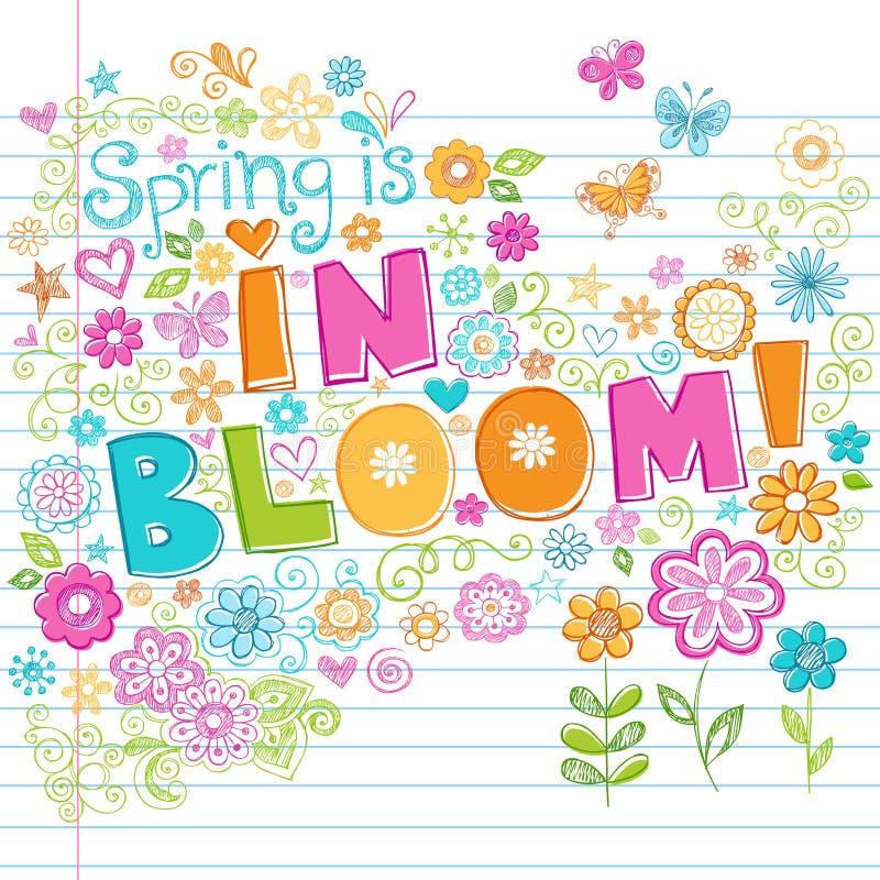 Von Hand gezeichnet flüchtige Frühlings-Zeit-Beschriftungs-Gekritzel vektor abbildung