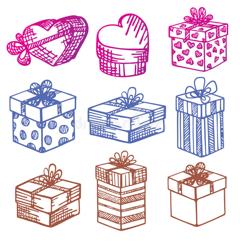 Von Hand gezeichnet. Set Geschenkkästen. Gekritzel. lizenzfreie abbildung