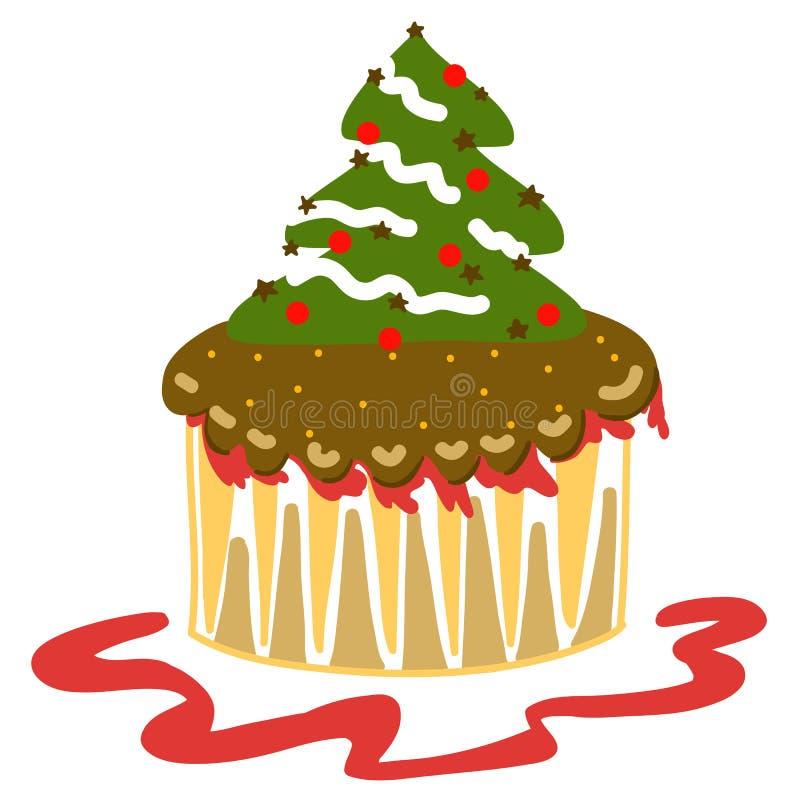 Von Hand gezeichnet Weihnachtsphantasie-Cupkuchen lizenzfreie abbildung