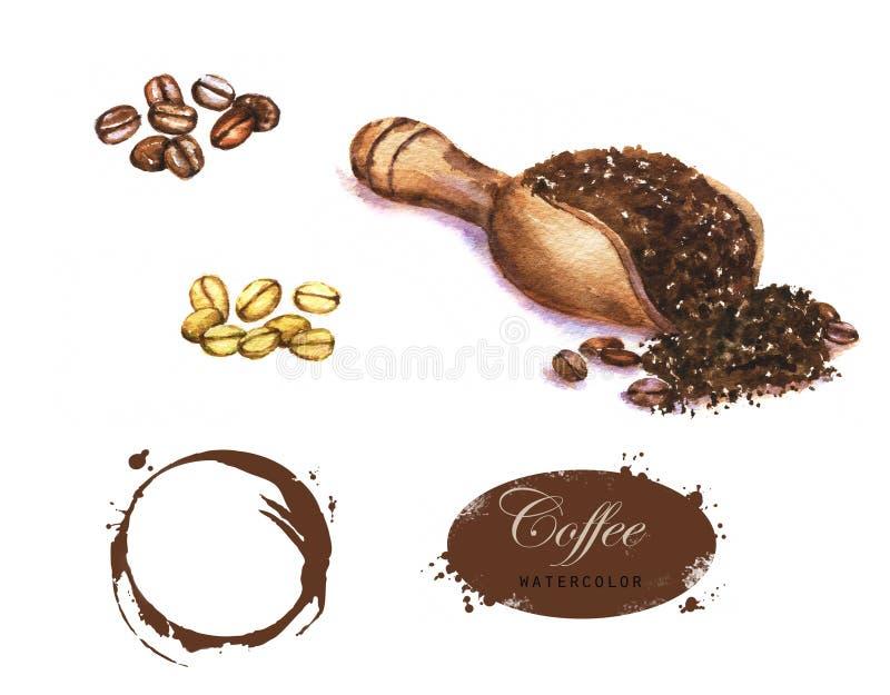 Von Hand gezeichnete Aquarellillustration des Kaffees lizenzfreie abbildung