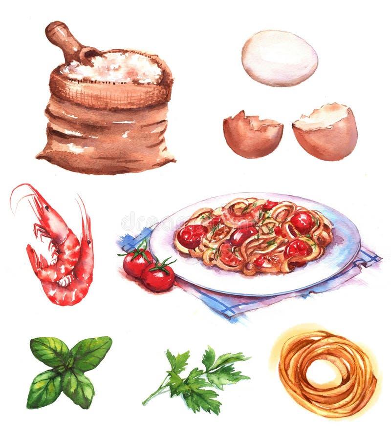 Von Hand gezeichnete Aquarellillustration von verschiedenen Produkten und von Bestandteilen vektor abbildung