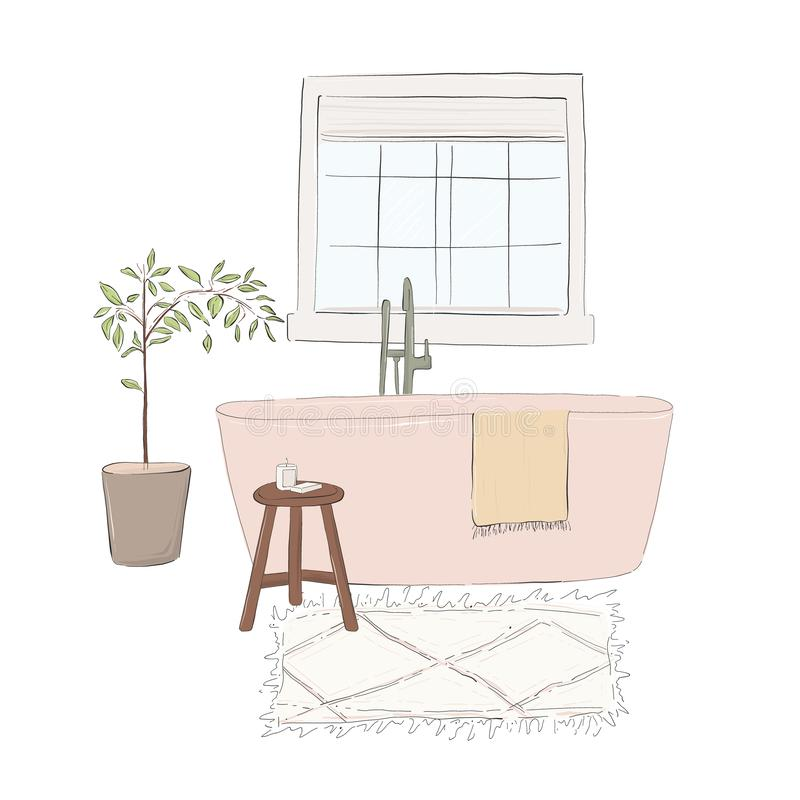 Von Hand gezeichnete Badezimmerillustration mit Bad, Teppich, Bücher, Stuhl, Kerzen, Anlage Gemütliches inteior kühlende Kunst Mo vektor abbildung