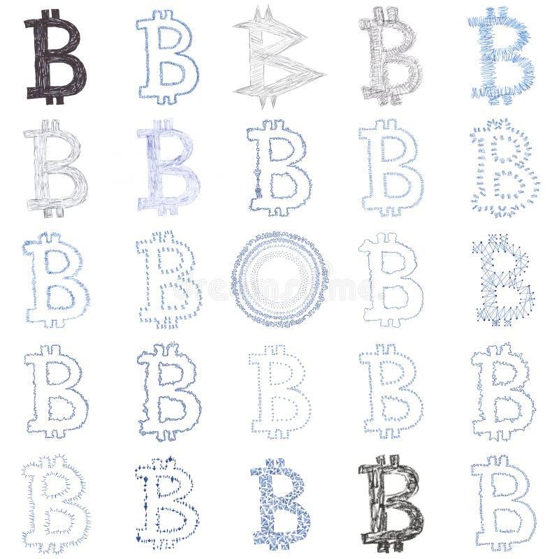 Von Hand gezeichnete Bitcoin-Symbolcollage lizenzfreie stockfotografie