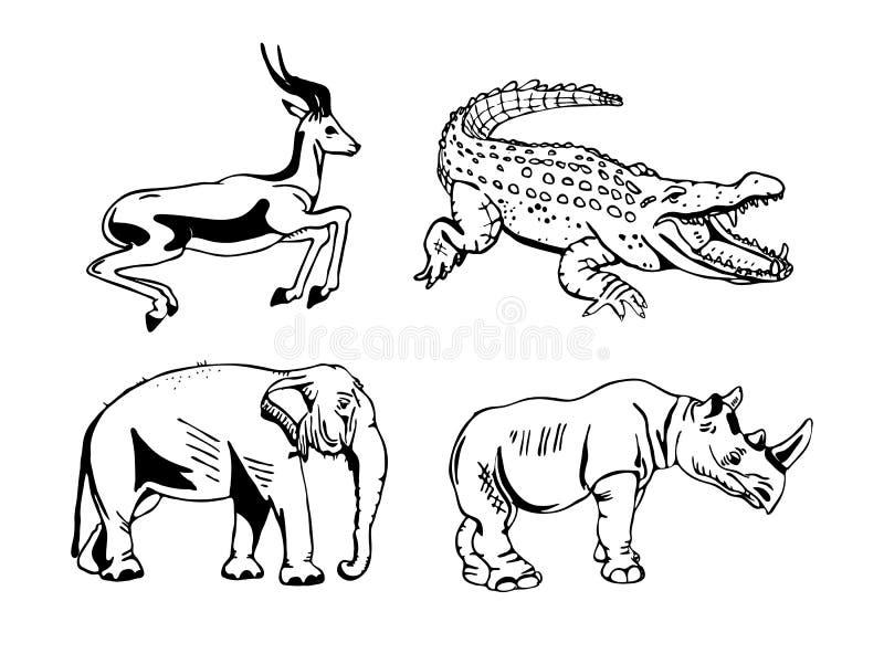 Von Hand gezeichnete Bleistiftgraphiken, afrikanische Tiere eingestellt lizenzfreie abbildung