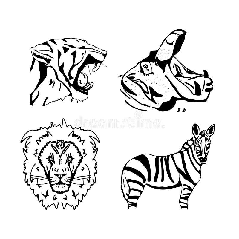 Von Hand gezeichnete Bleistiftgraphiken, afrikanische Tiere eingestellt vektor abbildung