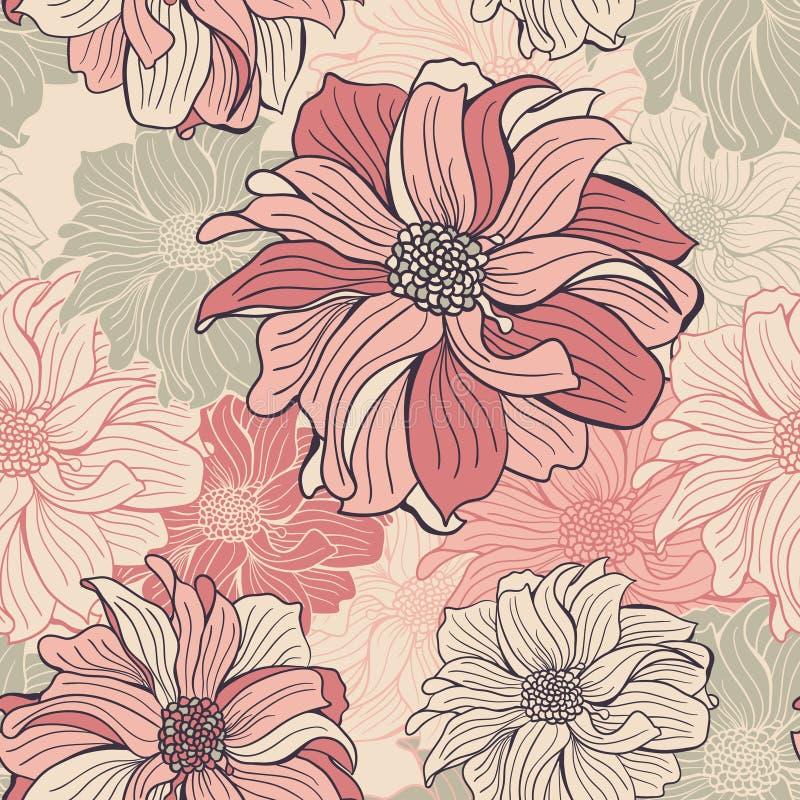 Von Hand Gezeichnete Blumen Der Dahlie Vektor Abbildung ...