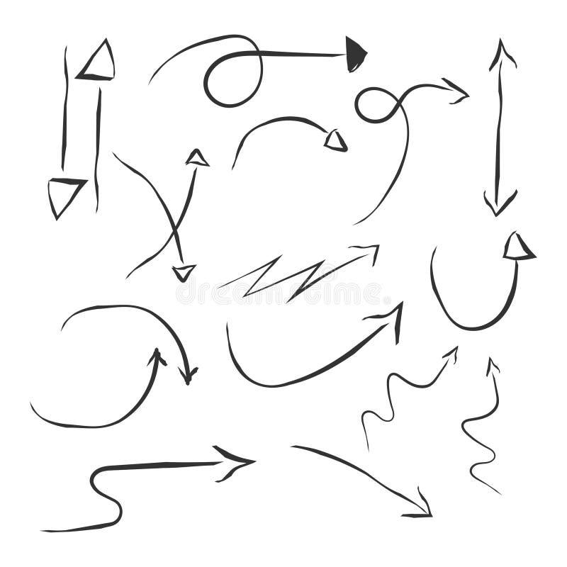 Von Hand gezeichnete einfache Pfeile eingestellt in die unterschiedliche Richtung oben unten gelassen, recht Pfeil für infographi stock abbildung