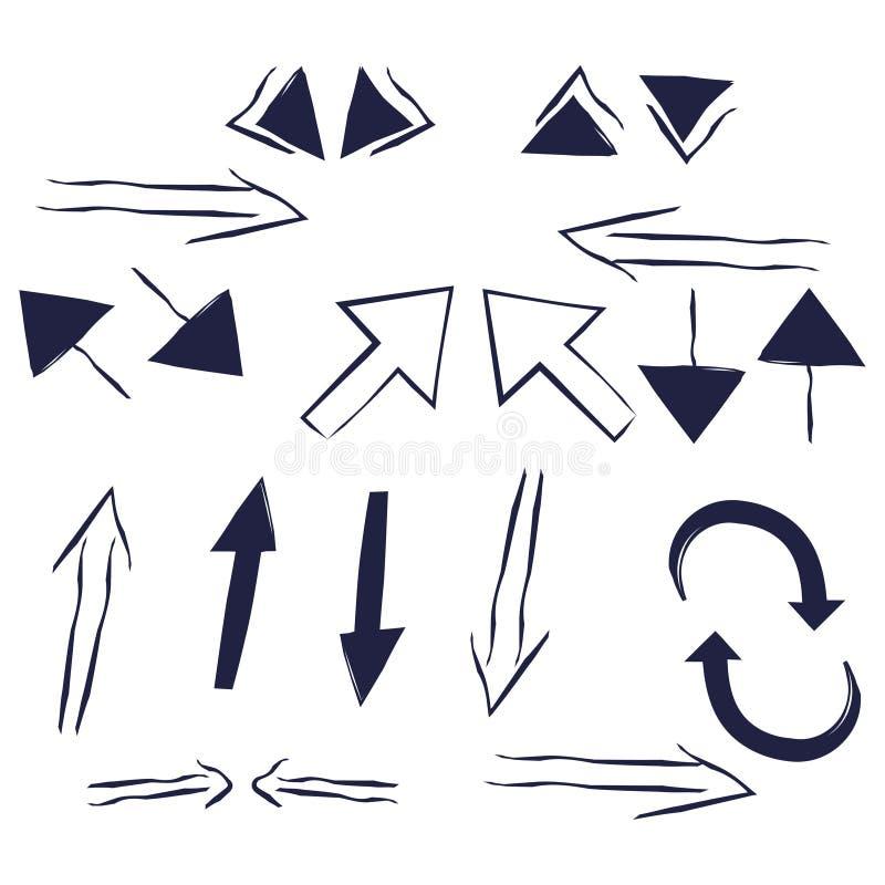 Von Hand gezeichnete einfache Pfeile eingestellt in die unterschiedliche Richtung oben unten gelassen, recht Pfeil für infographi vektor abbildung