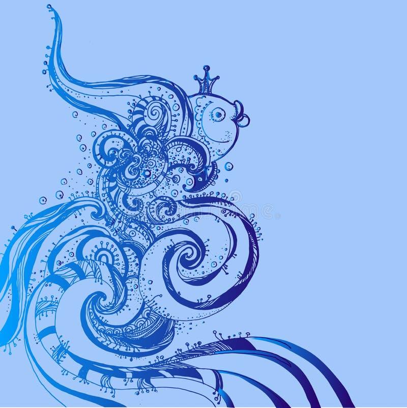 Von Hand gezeichnete Fantasiefische mit ethnischem Gekritzelmuster Zengekritzel vektor abbildung