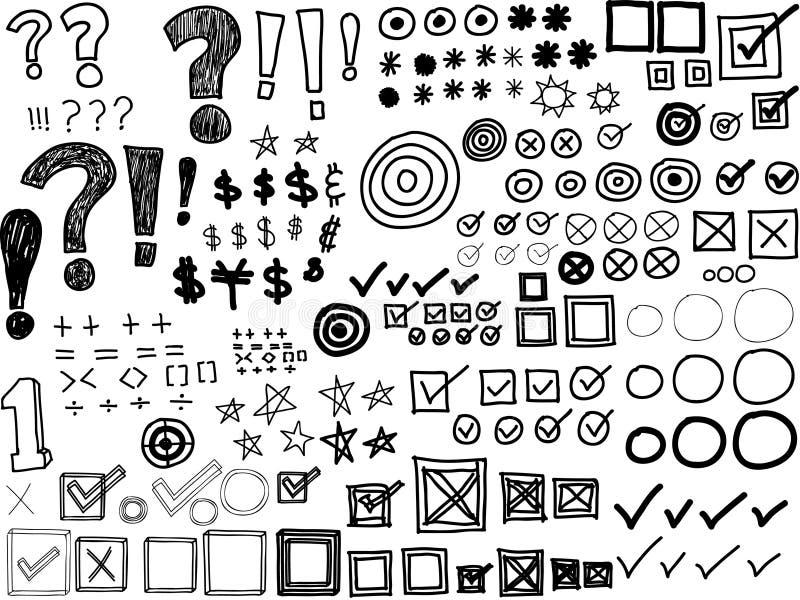 Von Hand gezeichnete Gekritzel - Sternchen, Kugeln, Häkchen, Interpunktionszeichen lizenzfreie abbildung