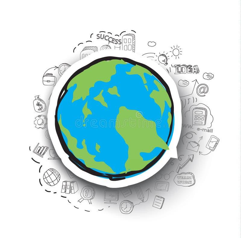 Von Hand gezeichnete Geschäftsgekritzel eingestellt und Weltkarteikone vektor abbildung