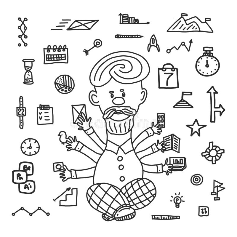 Von Hand gezeichnete Geschäftsillustration des Zeitmanagements Bankwesen, Glühlampe mit Gängen, Start, Online-Zahlungen, Manager  lizenzfreie abbildung