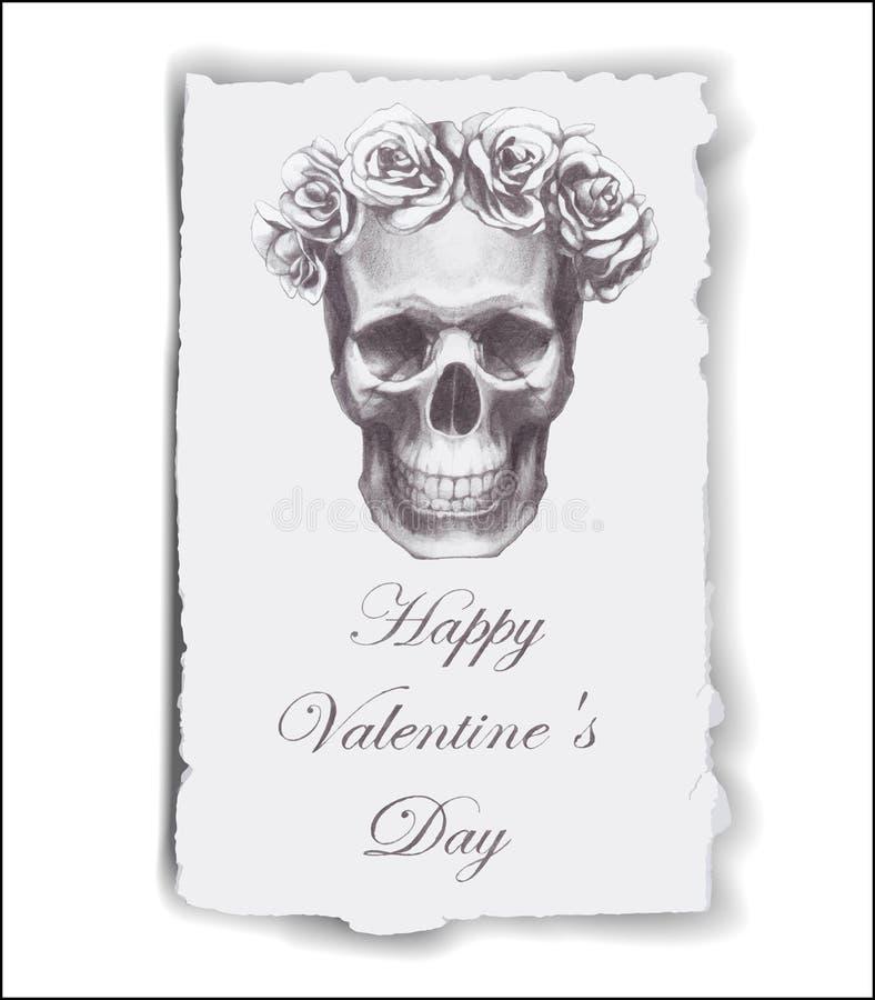 Von Hand gezeichnete Grußkarte für Valentinstag mit Rosen und dem Schädel lizenzfreie abbildung