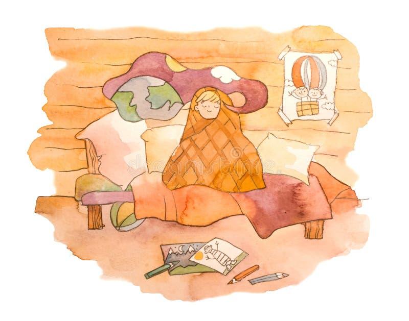 Von Hand gezeichnete Illustration des Aquarells eines träumenden Kindes Kind Träumen eines in den gemütlichen Betts stock abbildung