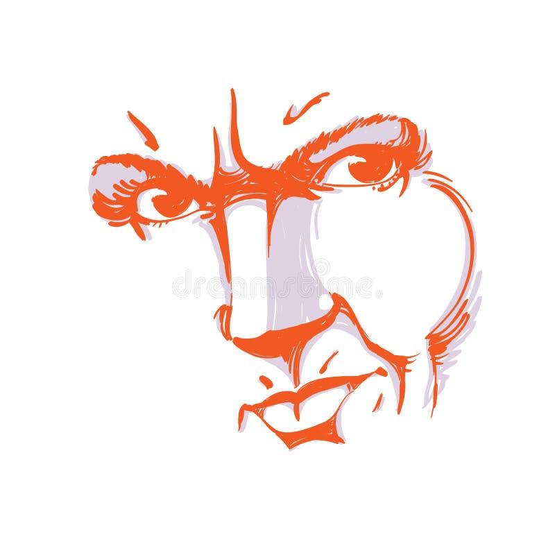 Von Hand gezeichnete Illustration des Frauengesichtes, bunte Maske mit emotio vektor abbildung