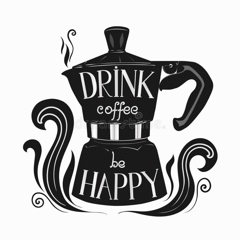 Von Hand gezeichnete Illustration von moka Topf mit Beschriftung über Kaffee vektor abbildung