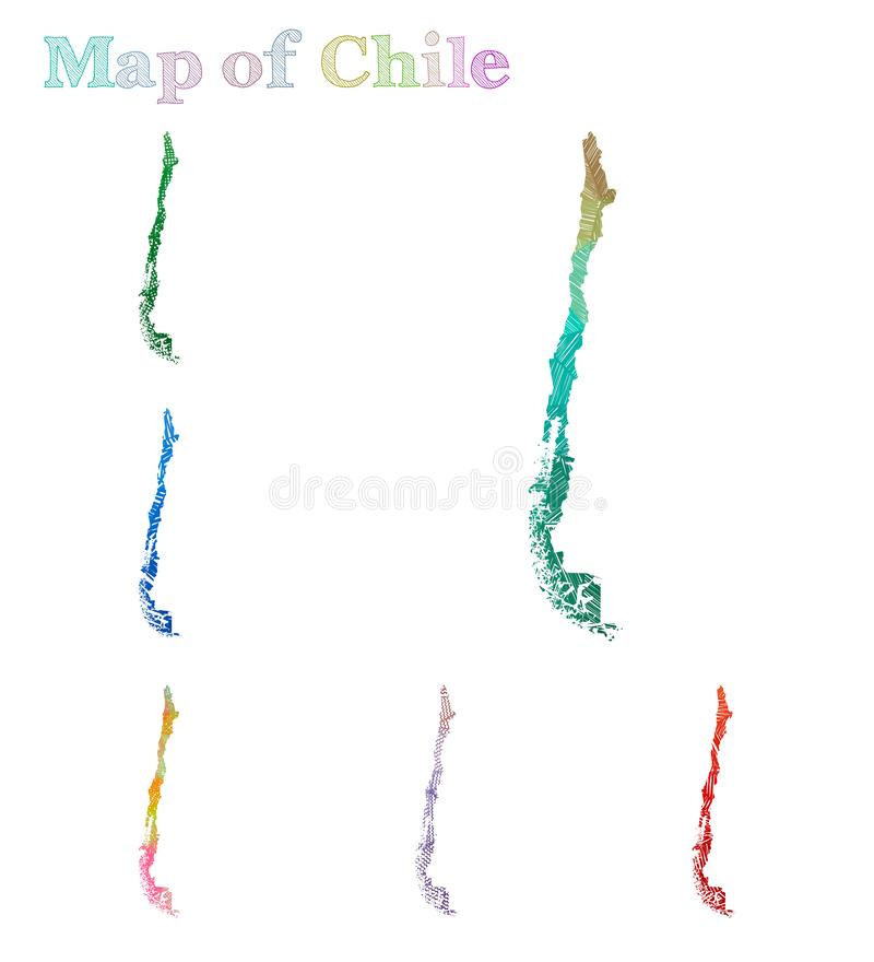 Von Hand gezeichnete Karte von Chile vektor abbildung