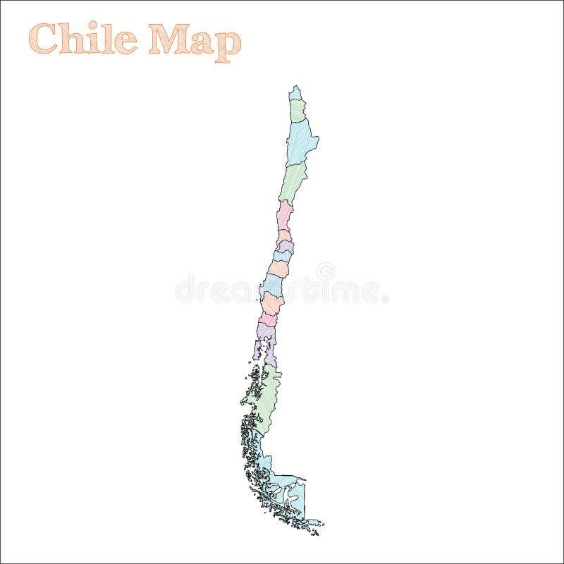 Von Hand gezeichnete Karte Chiles vektor abbildung