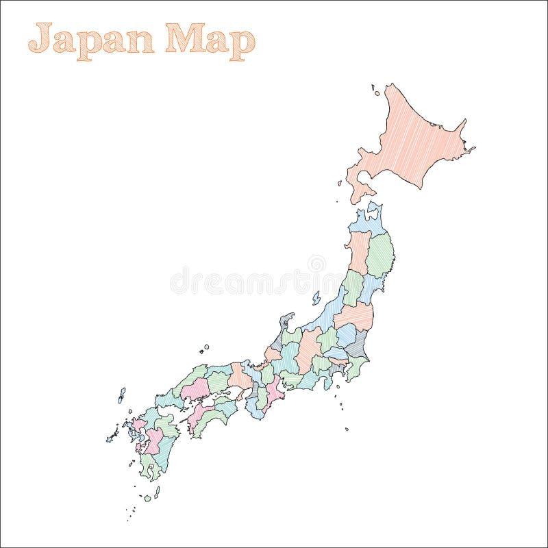 Von Hand gezeichnete Karte Japans stock abbildung