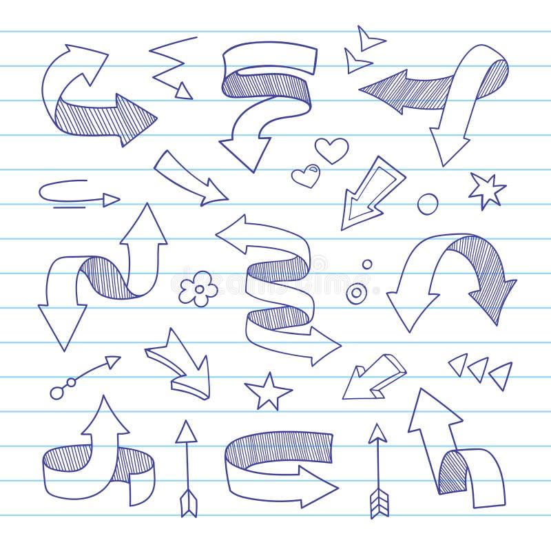 Von Hand gezeichnete Pfeile lizenzfreie abbildung