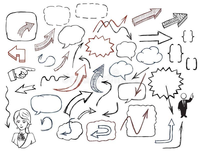 Von Hand gezeichnete Pfeile und Spracheblasenillustrationssatz vektor abbildung