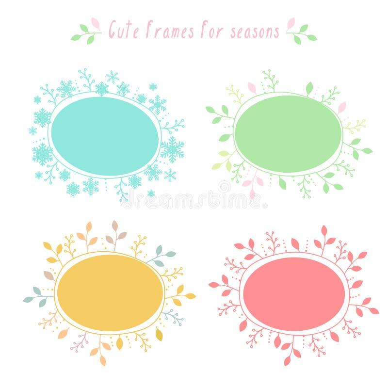 Von Hand gezeichnete Rahmen mit allen Jahreszeiten stock abbildung