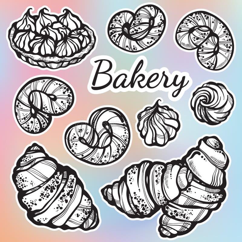 Von Hand gezeichnete schön Brötchensammlung Vector Bäckereiikonen, die Weinleselebensmittelelemente in der linearen Art lokalisie stock abbildung