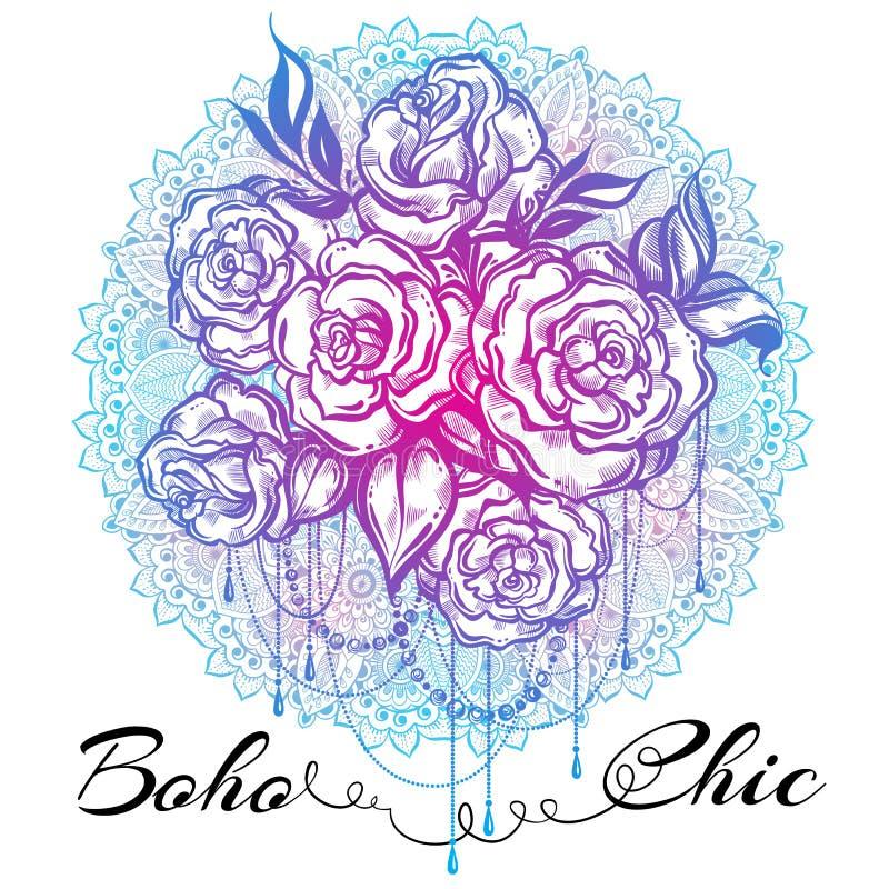 Von Hand gezeichnete schöne Rosen über der Mandala, aufwändiges rundes Muster Tätowierung Art Grafische Weinlesezusammensetzung i stock abbildung
