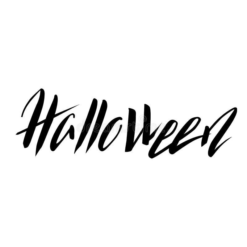 Von Hand gezeichnete schwarze Beschriftung Halloweens auf weißem Hintergrund Grungy Beschriftung Halloweens lokalisiert vektor abbildung