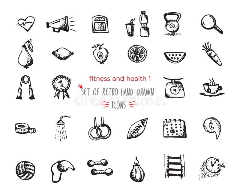 Von Hand gezeichnete Skizzeneignung und Gesundheitsikonensatz lizenzfreie abbildung