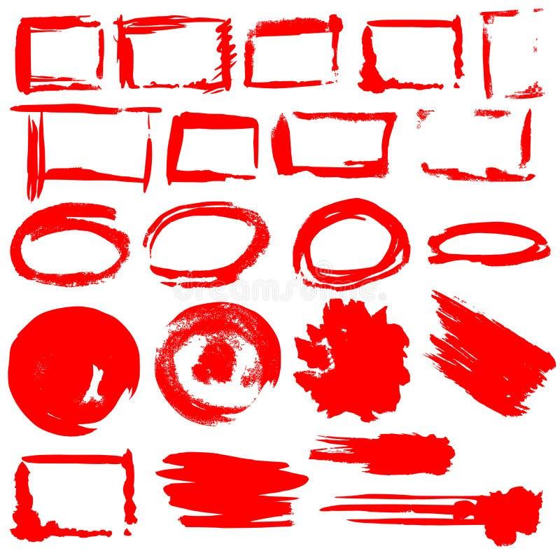 Von Hand gezeichnete Tintengrenzen und Spritzenvektorsatz stock abbildung